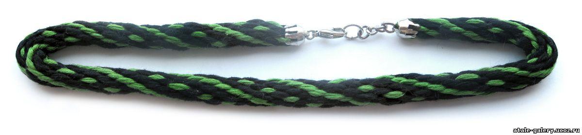 Круглое спиральное плетение кумихимо на 16 нитей Мулине: черное, зеленое...